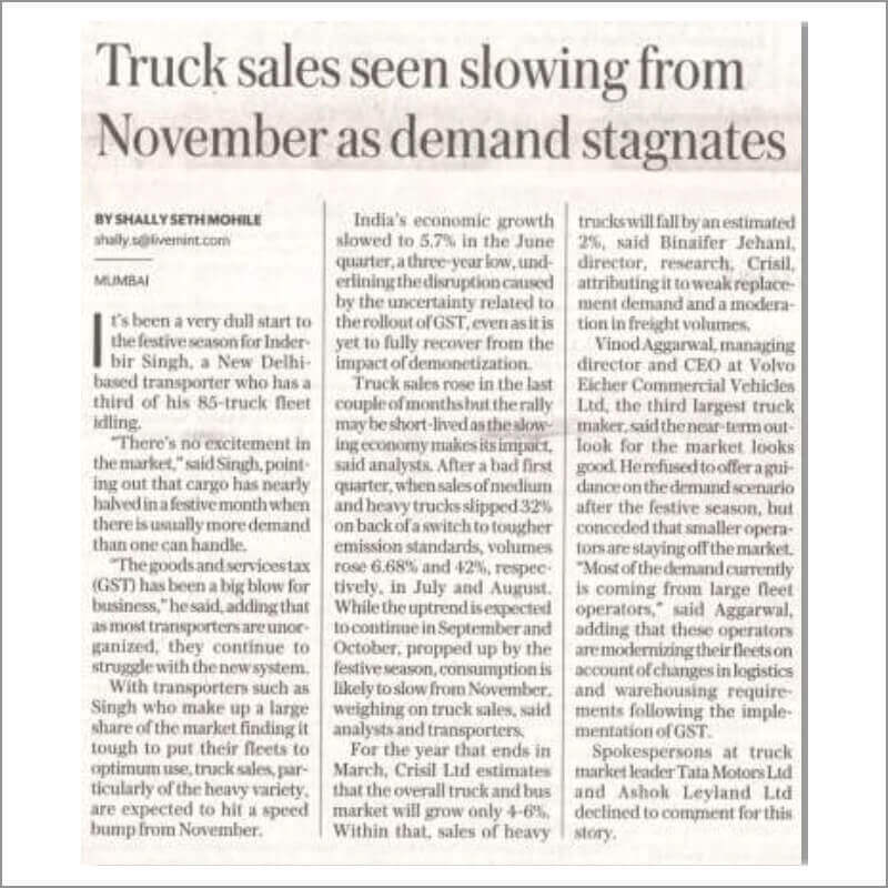 Truck sales seen slowing from November as demand stagnates