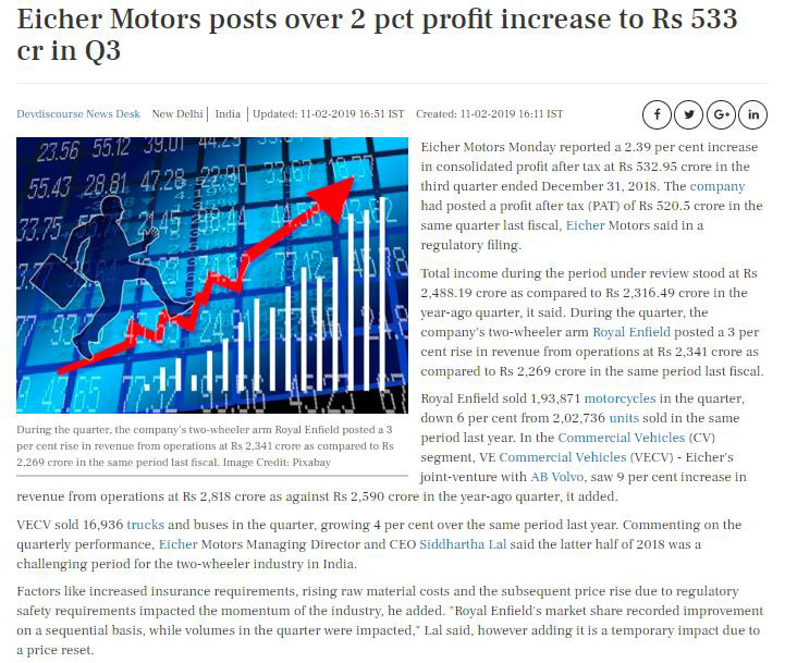 EICHER MOTORS POSTS OVER 2 PCT PROFIT INCREASE TO RS 533 CR IN Q3