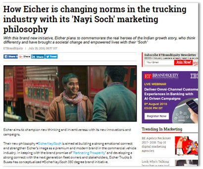 HOW EICHER IS CHANGING NORMS IN THE TRUCKING INDUSTRY WITH ITS \'NAYI SOCH\' MARKETING PHILOSOPHY