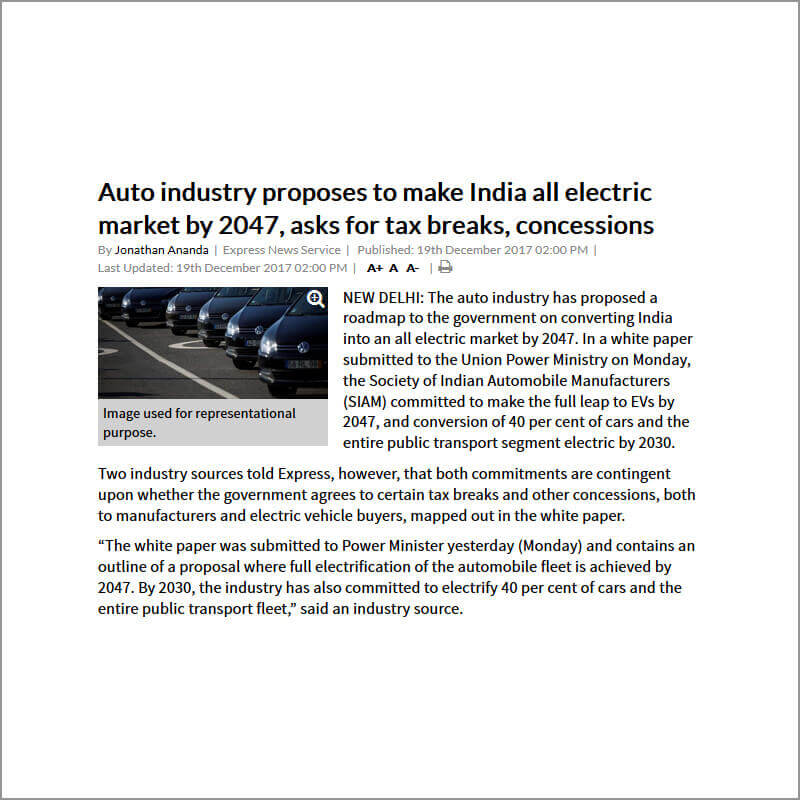 Auto industry proposes to make India all electric market by 2047