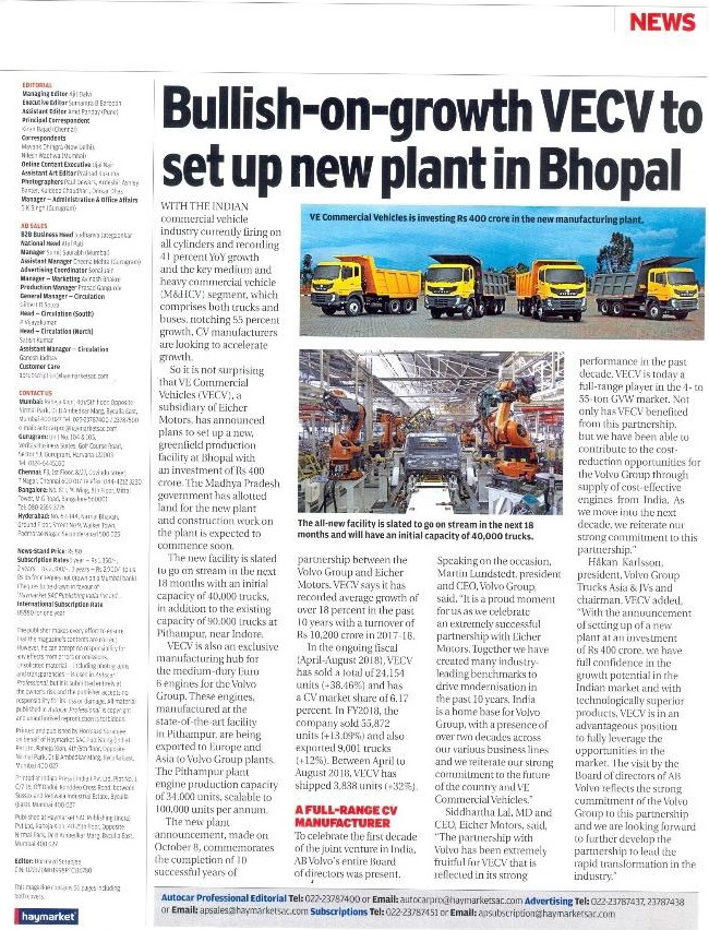 BULLISH-ON-GROWTH VECV TO SET UP NEW PLANT IN BHOPAL
