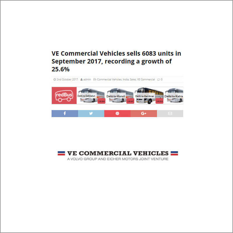 VE Commercial Vehicles sells 6083 units in September 2017, recording a growth of 25.6%