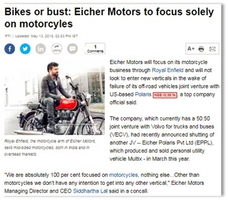 BIKES OR BUST: EICHER MOTORS TO FOCUS SOLELY ON MOTORCYLES