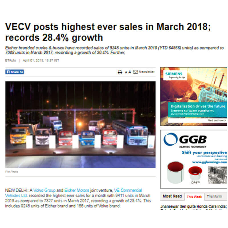VECV POSTS HIGHEST EVER SALES IN MARCH 2018; RECORDS 28.4% GROWTH