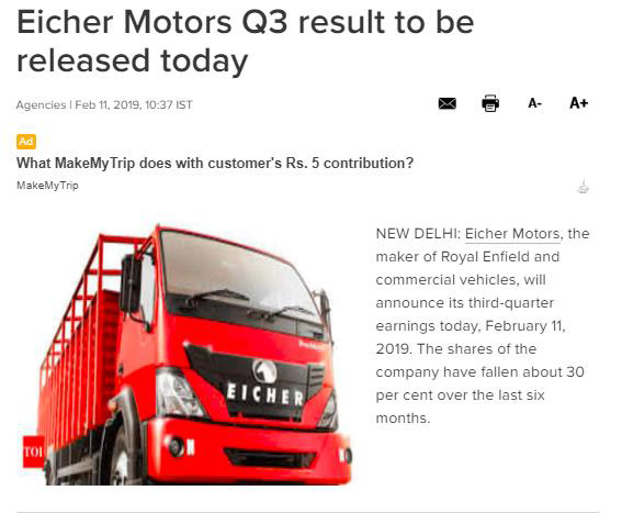 EICHER MOTORS Q3 RESULT TO BE RELEASED TODAY