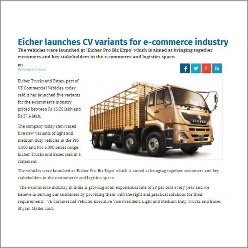 Eicher launches CV variants for e-commerce industry