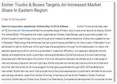 EICHER TRUCKS AND BUSES TARGETS AN INCREASED MARKET SHARE IN EASTERN REGION