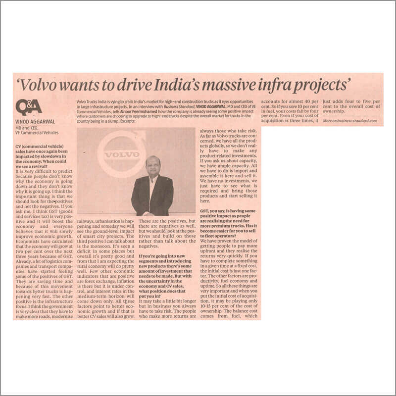 Volvo wants to drive India's massive infra projects\'