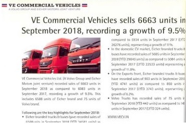 VE COMMERCIAL VEHICLES SELLS 6663 UNITS IN SEPTEMBER 2018, RECORDING A GROWTH OF 9.5%