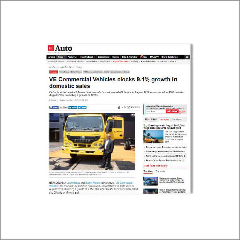 VE Commercial Vehicles clocks 9.1% growth in domestic sales
