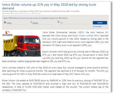 VOLVO EICHER VOLUME UP 31% YOY IN MAY 2018 LED BY STRONG TRUCK DEMAND