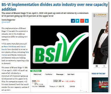 BS-VI IMPLEMENTATION DIVIDES AUTO INDUSTRY OVER NEW CAPACITY ADDITION