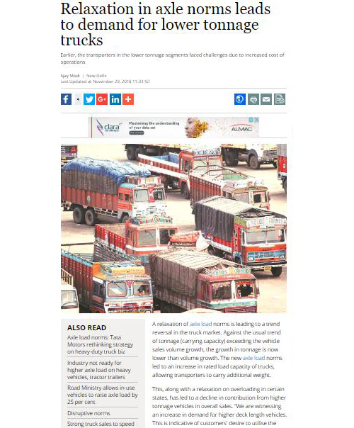 RELAXATION IN AXLE NORMS LEADS TO DEMAND FOR LOWER TONNAGE TRUCKS
