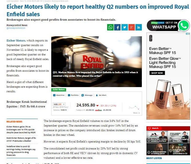 EICHER MOTORS LIKELY TO REPORT HEALTHY Q2 NUMBERS ON IMPROVED RE SALES
