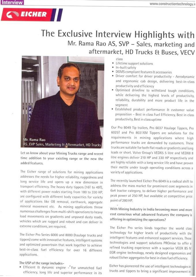 THE EXCLUSIVE INTERVIEW HIGHLIGHTS WITH MR. RAMA RAO AS, SVP- SALES AND MARKETING AND AFTERMARKET, HD TRUCKS & BUSES, VECV