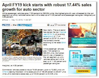 APRIL FY19 KICK STARTS WITH ROBUST 17.44% SALES GROWTH FOR AUTO SECTOR