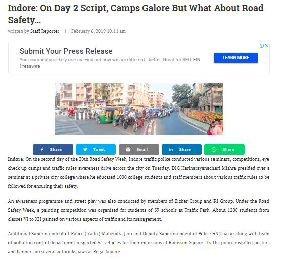 INDORE: ON DAY 2 SCRIPT, CAMPS GALORE BUT WHAT ABOUT ROAD SAFETY