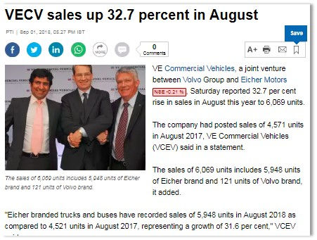 VECV SALES UP 32.7 PERCENT IN AUGUST