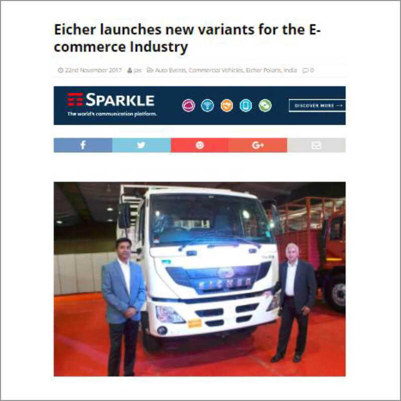 Eicher launches new variants for the E-commerce industry