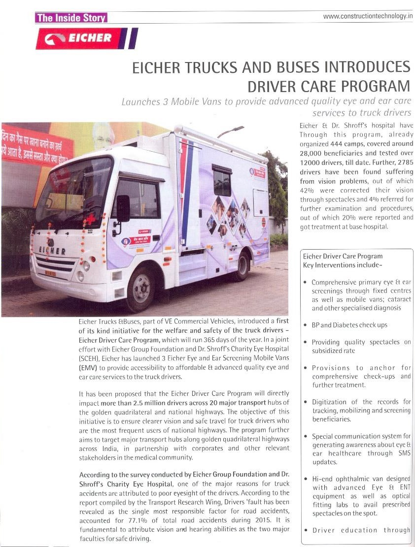 EICHER TRUCKS AND BUSES INTRODUCES DRIVER CARE PROGRAM