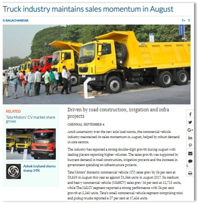 TRUCK INDUSTRY MAINTAINS SALES MOMENTUM IN AUGUST