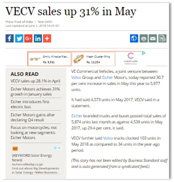 VECV SALES UP 31% IN MAY
