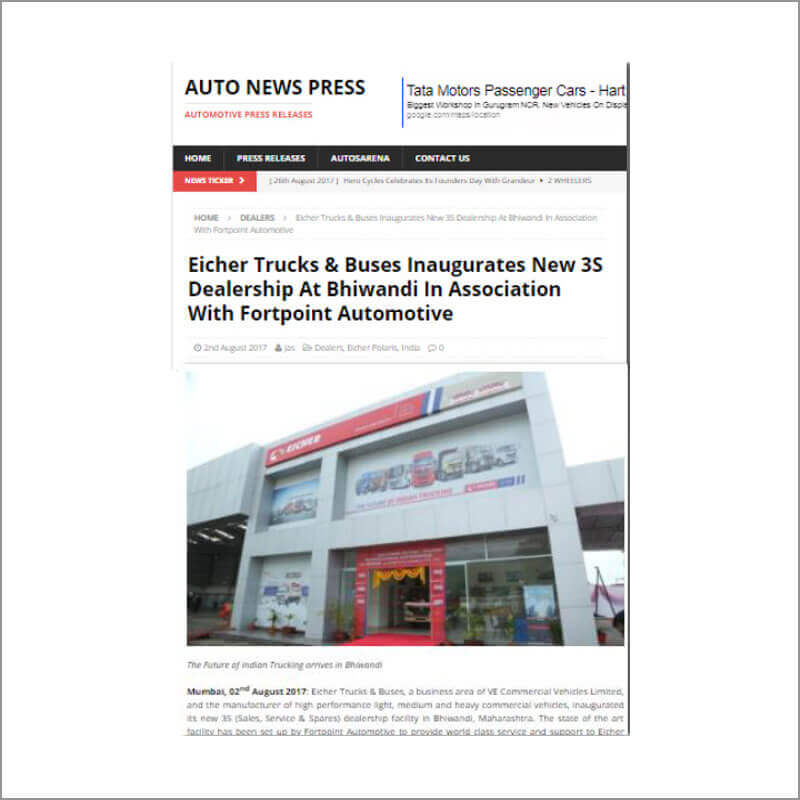 Eicher Trucks & Buses Inaugurates New 3S Dealeship At Bhiwandi In Association With FortPoint Automotive