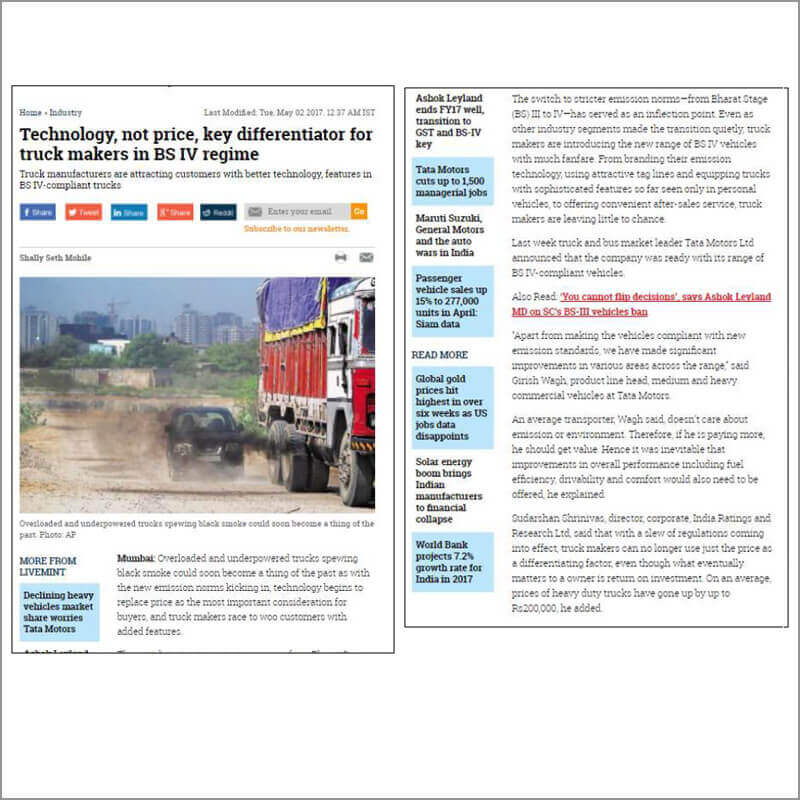 Technology, not price, key differentiator for truck makes in BSIV regime