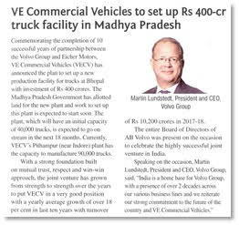 VE COMMERCIAL VEHICLES TO SET UP RS 400 CR TRUCK FACILITY IN MADHYA PRADESH