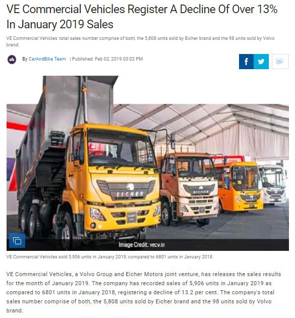 VE COMMERCIAL VEHICLES REGISTER A DECLINE OF OVER 13% IN JANUARY 2019 SALES