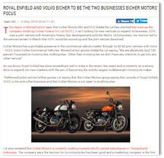 ROYAL ENFIELD AND VOLVO EICHER TO BE THE TWO BUSINESSES EICHER MOTORS\' FOCUS