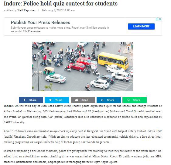 INDORE: POLICE HOLD QUIZ CONTEST FOR STUDENTS