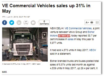 VE COMMERCIAL VEHICLES SALES UP 31% IN MAY
