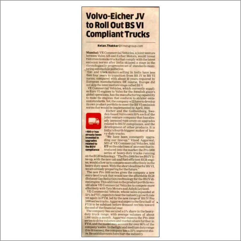 Volvo-Eicher JV to Roll Out BS VI Compliant Trucks