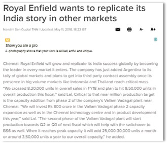 ROYAL ENFIELD WANTS TO REPLICATE ITS INDIA STORY IN OTHER MARKETS
