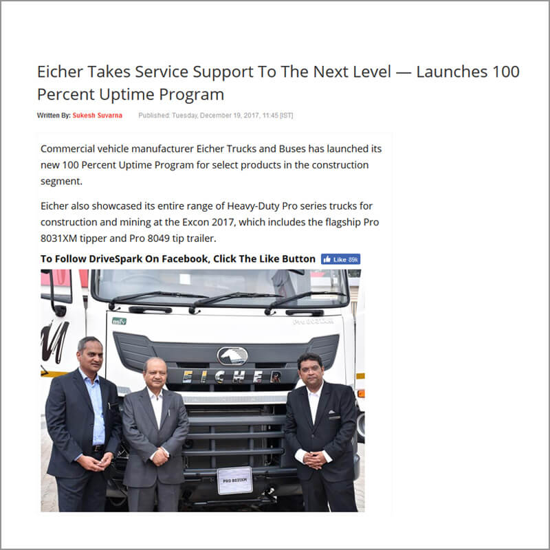 Eicher Takes Service Support To The Next Level - Launches 100% Uptime Program