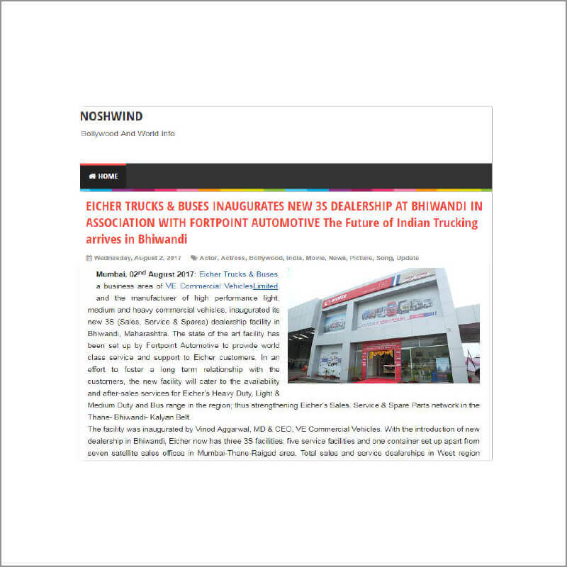 EICHER TRUCKS & BUSES INAUGURATES NEW 3S DEALERSHIP AT BHIWANDI IN ASSOCIATION WITH FORTPOINT AUTOMOTIVE