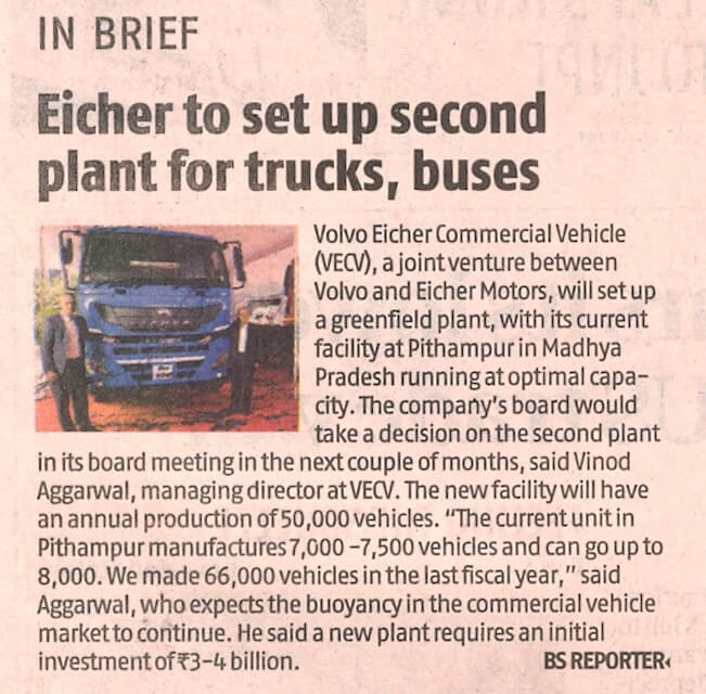 Eicher to set up second plant for trucks, buses