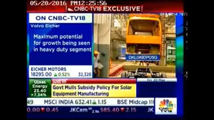 Mr. Vinod Aggarwal, CEO, VE Commercial Vehicles on CNBC TV18 show - \'Half Time\'