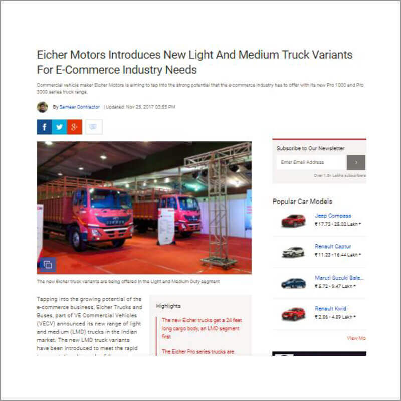 Eicher Motors Introduces New Light and Medium Truck Variants For E-Commerce Industry Needs