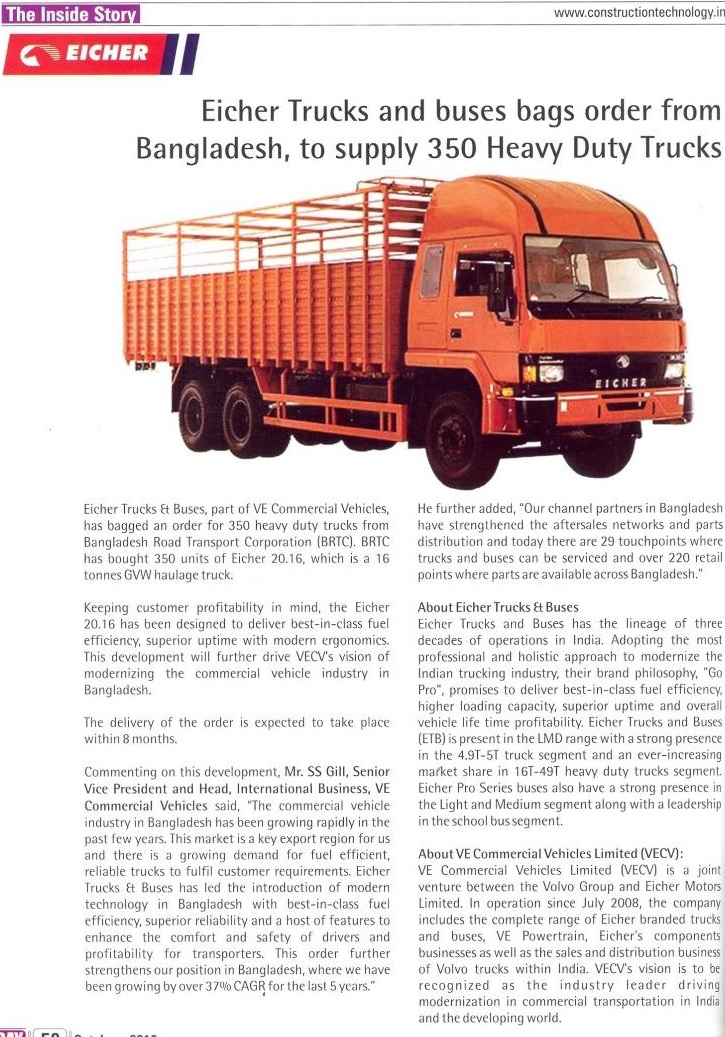 EICHER TRUCKS AND BUSES BAGS ORDER FROM BANGLADESH, TO SUPPLY 350 HEAVY DUTY TRUCKS