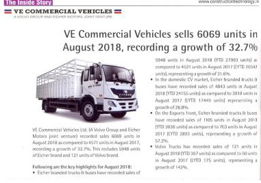 VE COMMERCIAL VEHICLES SELLS 6069 UNITS IN AUGUST 2018, RECORDING A GROWTH OF 32.7%