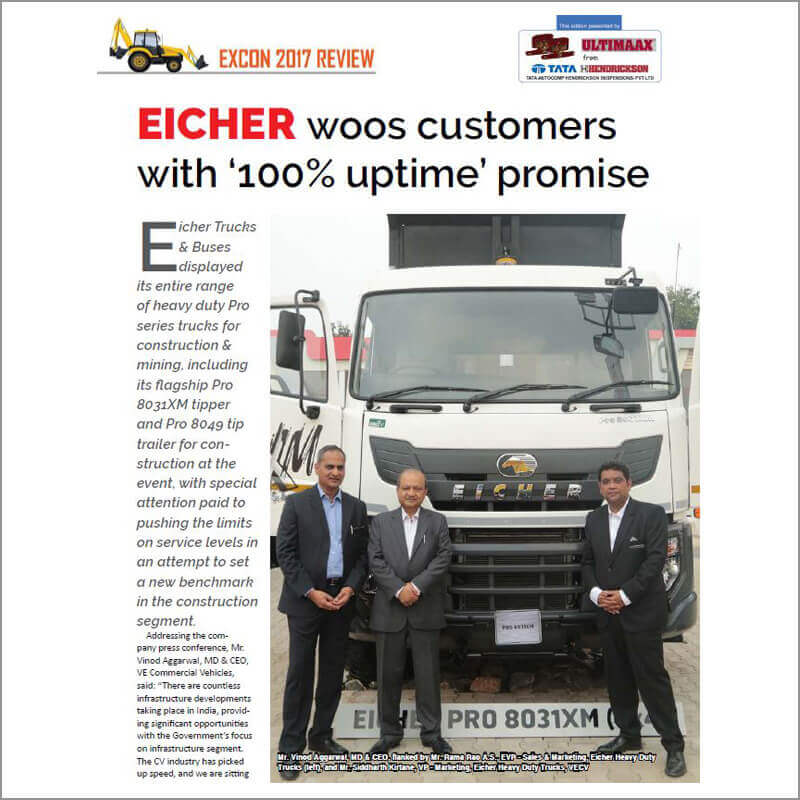 Eicher woos customers with '100% uptime, promise