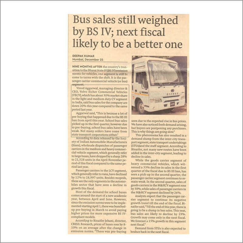 Bus sales still weighed by BS IV; next fiscal likely to be a better one