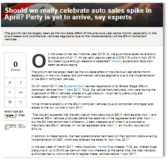 SHOULD WE REALLY CELEBRATE AUTO SALES SPIKE IN APRIL? PARTY IS YET TO ARRIVE, SAY EXPERTS