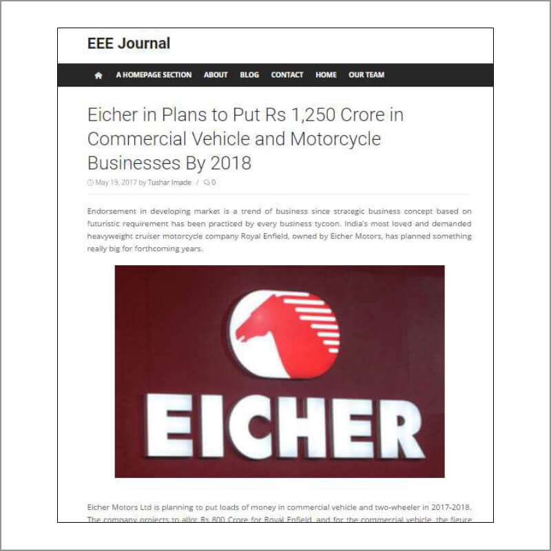Eicher in Plans to put Rs 1,250 Crore in commercial Vehicle and Motorcycle Businesses By 2018