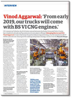 FROM EARLY 2019, OUR TRUCKS WILL COMES WITH BS VI  CNG ENGINES- Q&A WITH VINOD AGGARWAL