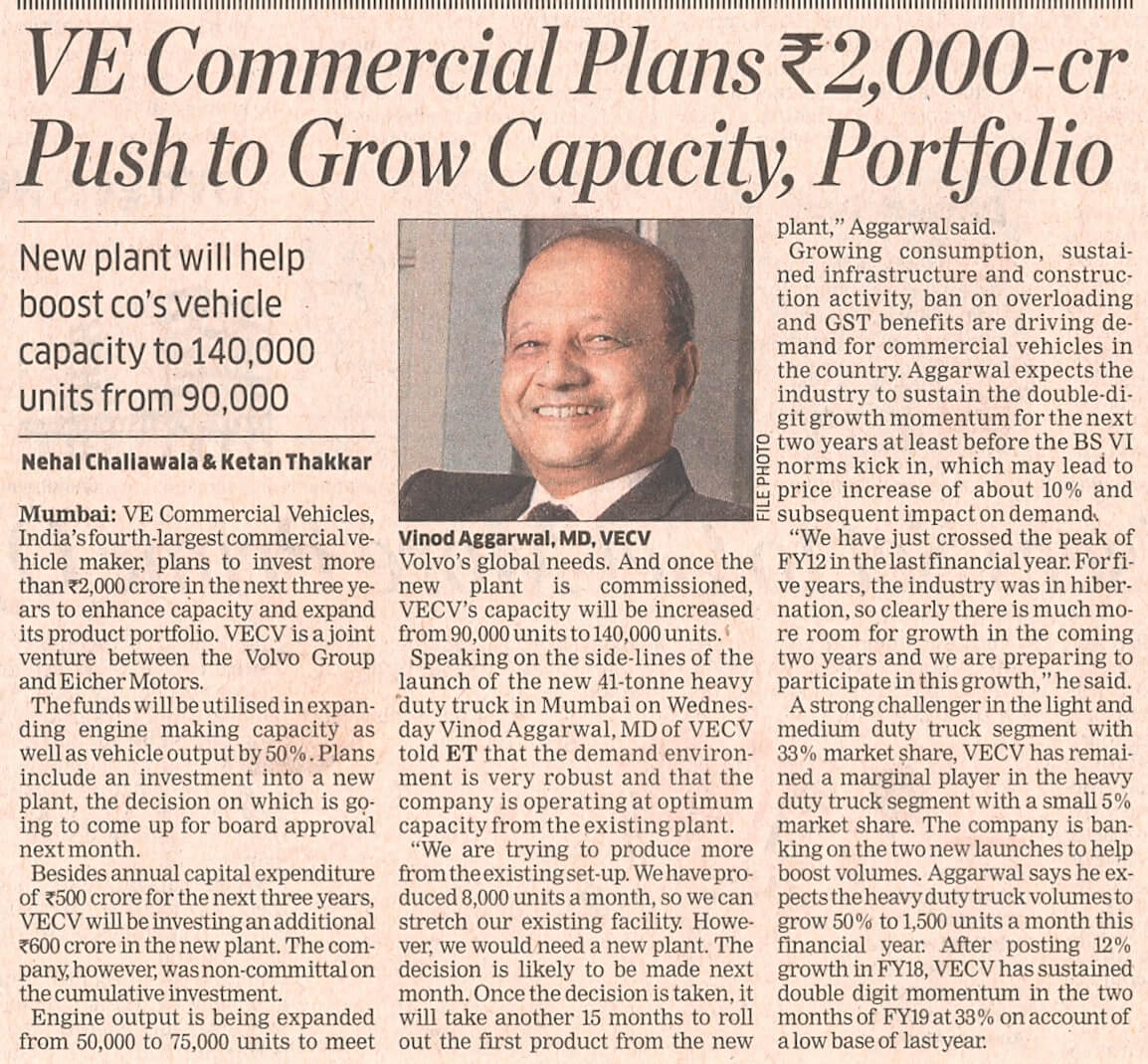 VE Commercial plans Rs. 2,000 cr push to grow capacity, portfolio