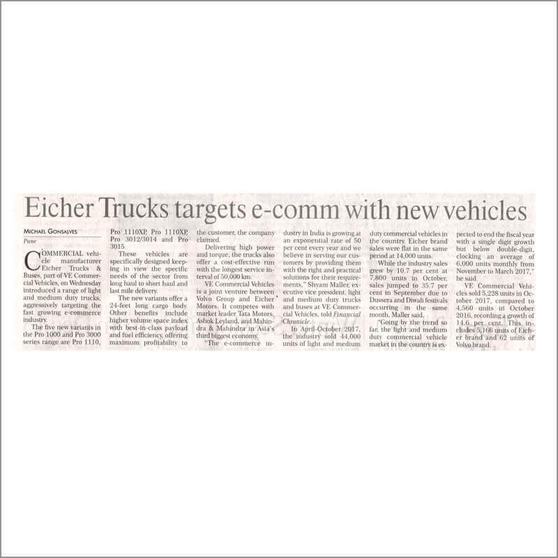Eicher Trucks targets e-comm with new vehicles