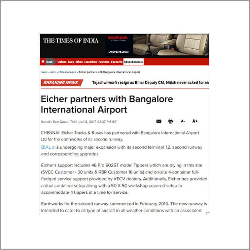 Eicher Partners With Bangalore International Airport
